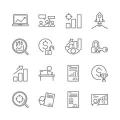 Line icon of business and investment. Editable stroke. 30x30 pixel. Vector illustration.