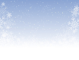 Blue Cover, Banner or Background with Snowflakes.