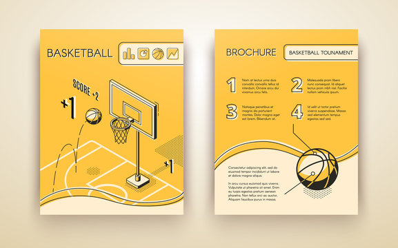 Basketball tournament promotional brochure or advertising flyer line art, isometric vector design template with ball jumping in hoop on basketball court illustration. Sport club, game match ad flyer