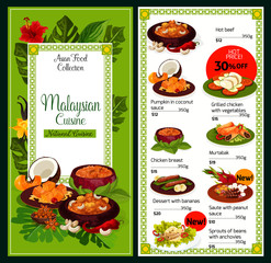 Malaysian cuisine traditional dishes food menu