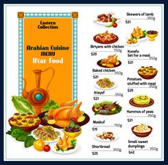 Arabian cuisine traditional dishes food menu