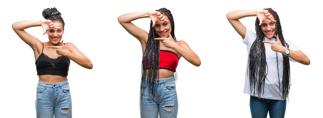 Collage of beautiful braided hair african american woman with birth mark over isolated background smiling making frame with hands and fingers with happy face. Creativity and photography concept.