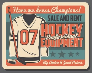 Hockey training uniform and equipment rent poster