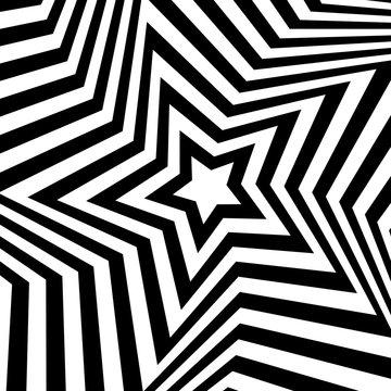 Vector op art star background. Optical illusion. Vector op art b