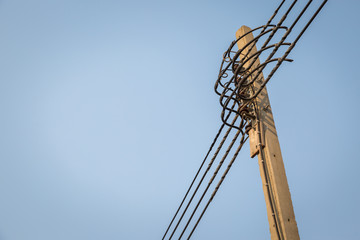 High voltage electricity pole with  clear sky
