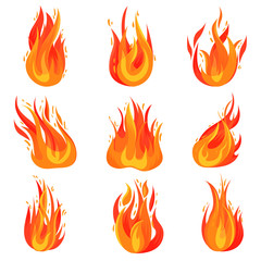 Flat vector set of bright red-orange fires. Hot blazing flames. Burning campfires. Cartoon symbol of danger