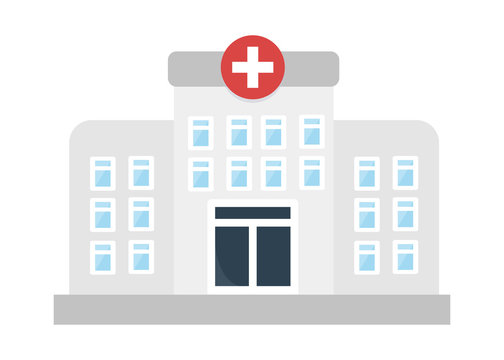 hospital icon in flat style isolated vector illustration on white transparent background. medical building icon vector.