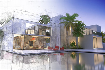 Draft and final rendering of luxurious villa