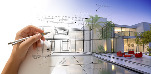 Hand drawing a designer villa with pool