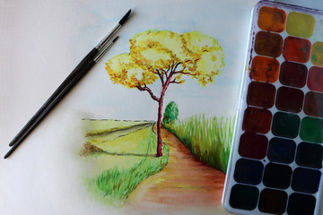 watercolor painting autumn tree student