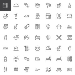 Asian food restaurant outline icons set. linear style symbols collection, line signs pack. vector graphics. Set includes icons as Shrimp Salad Bowl, Noodles Soup Box, Sushi rolls board, Green tea Cup