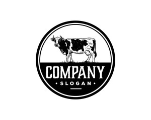 Hand Drawing Vector Livestock Cow or Cattle Farm Animal Sign Symbol Vintage Company Circle Logo Template Design Inspiration