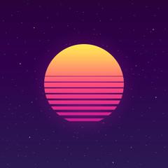 Futuristic background the 80`s. New retro wave.  sun retro.