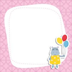 Greeting card with cartoon hippo.