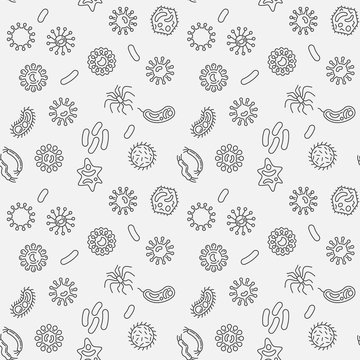 Bacteria vector minimal seamless pattern in thin line style