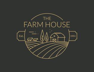 Foto auf Acrylglas Grau Verkehrs Farm House outline logo. Vector line emblem.