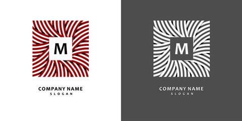 Square wreath of striped ribbons. Stylish and graceful monogram design , Elegant line art logo design, vector template.