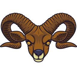 Angry goat head mascot