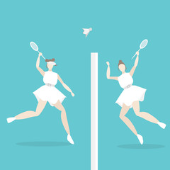 Young woman playing tenis female for cartoon illustration  web and print