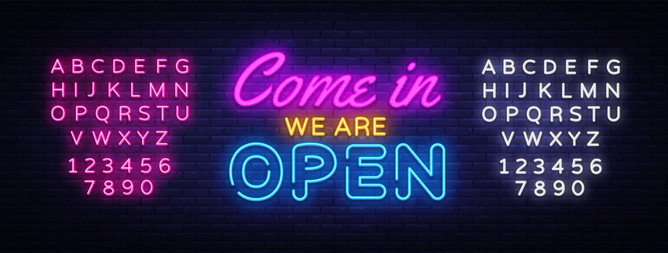 Come in we are Open neon sign vector design template. Open Shop neon text, light banner design element colorful modern design trend, night bright advertising. Vector. Editing text neon sign