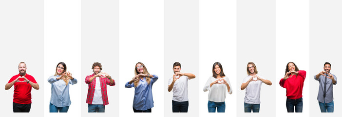 Collage of different ethnics young people over white stripes isolated background smiling in love showing heart symbol and shape with hands. Romantic concept.
