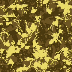 UFO military camouflage seamless pattern in different shades of green and yellow colors
