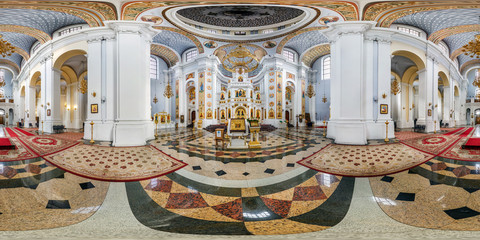 Full seamless panorama 360 angle degrees view inside interior of awesome orthodox church. 360 panorama in equirectangular spherical panorama. VR AR content