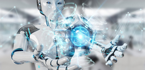 White woman humanoid using drone security camera 3D rendering