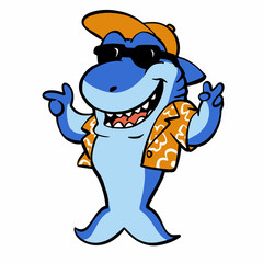 Funny shark with shirt and hat vector illustration