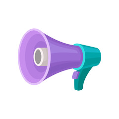 Purple megaphone with turquoise handle and button. Loud-speaker. Device for voice amplification. Flat vector design
