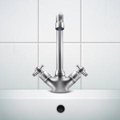 Realistic Sink Faucet Composition