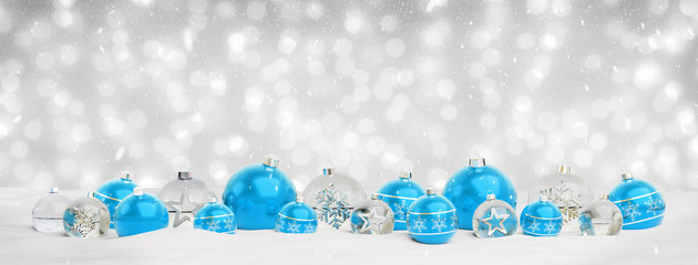 Blue and silver christmas baubles background 3D rendering