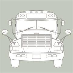 Yellow school bus vector illustration  lining draw  front