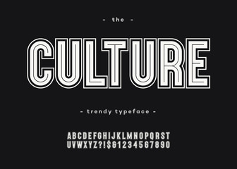 Vector bold culture font trendy typography sans serif style for book, promotion, poster, decoration, t shirt, sale banner, printing on fabric. Cool alphabet. Modern typeface. 10 eps