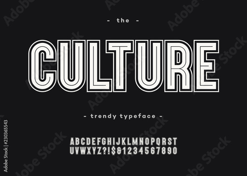 Vector bold culture font trendy typography sans serif style