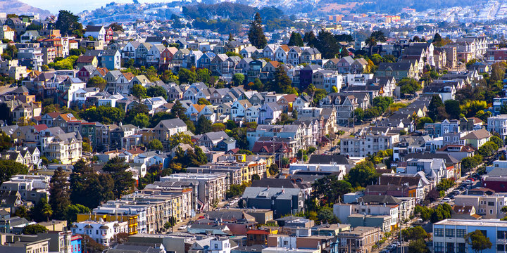 Dense housing in San Francisco CA on a sunny day