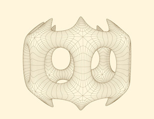 Abstract 3d shape with holes. Vector wireframe illustration