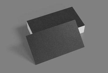 3D rendering of business card. Blank template black Business Cards on gray background.