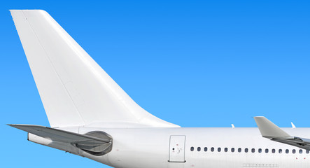 Modern passenger jet aircraft side tail silhouette with aircraft parts wing winglet passenger window aft exit stabilizer fin antenna jet engine exhaust design air travel isolated on sky white scheme Fototapete