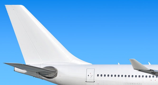 Modern passenger jet aircraft side tail silhouette with aircraft parts wing winglet passenger window aft exit stabilizer fin antenna jet engine exhaust design air travel isolated on sky white scheme