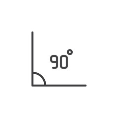 90 Degrees Angle outline icon. linear style sign for mobile concept and web design. Right angle simple line vector icon. Symbol, logo illustration. Pixel perfect vector graphics