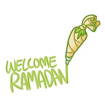 Cute and funny decorating pastry bag welcoming Ramadan and Eid al-fitri - vector.
