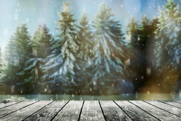 Christmas background with snow on the wood