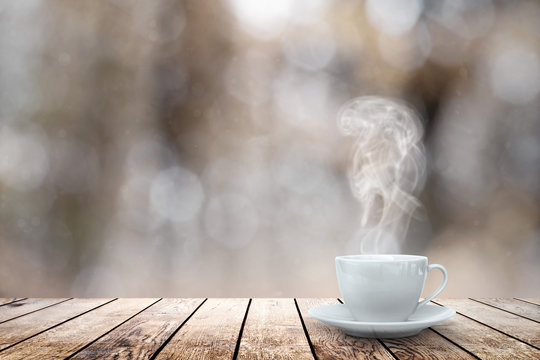 hot coffee on the table on a winter background