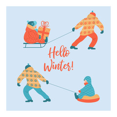 Hello winter. Daddies ride their children on tubing and sledding. The child is holding a Christmas gift. Vector illustration.