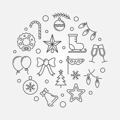 Happy Holidays minimal round vector outline illustration