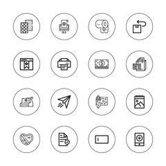 Collection of 16 outline paper icons