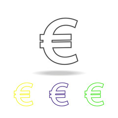 euro sign multicolored icons. Thin line icon for website design and app development. Premium colored web icon with shadow on white background