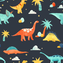 Watercolor dinosaur baby pattern