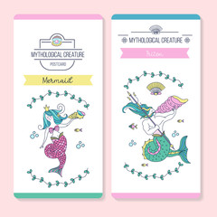 Vector postcards with mythological creatures. Mermaid and Triton.